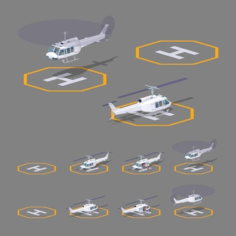 Isometrisches 3d-lowpoly-heli-pad