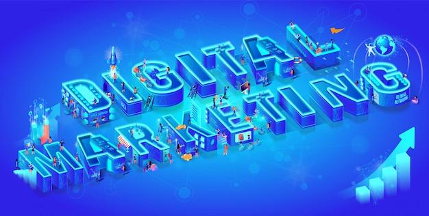 Isometrisches 3d-marketing für digitales wort