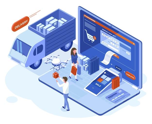 Isometrisches 3d-online-shopping-, zahlungs- und lieferkonzept. menschen tätigen einkäufe mit laptop-online-apps-vektorillustration. einkauf und lieferung im online-shop. credit card verification
