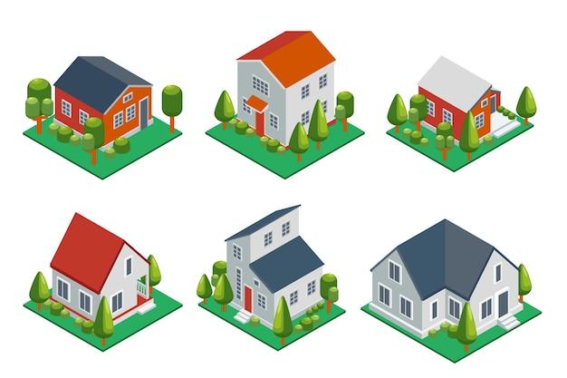 Isometrisches 3d privathaus, ländliche gebäude und hüttenikonen gesetzt. architektur immobilien, immobilien und haus,