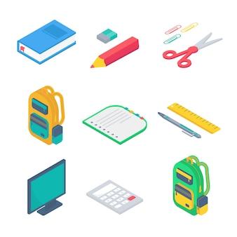 Isometrisches 3d-schulbedarfsset mit comruler, taschenrechner, buch, notizbuch, stift, rucksack, schere, radiergummi und lineal. vektor zurück zu schulhintergrund mit briefpapier. bürozubehör.