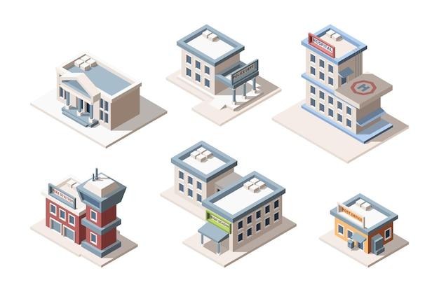 Isometrisches 3d-set für stadtgebäude. feuerwache, polizei, post. gymnasium und krankenhaus.