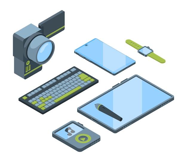 Isometrisches 3d-set für tragbare geräte. sammlung von elektronischen geräten isoliert cliparts pack. smartphone, smartwatch, digitales tablet. computertastatur, videokamera, musikplayer