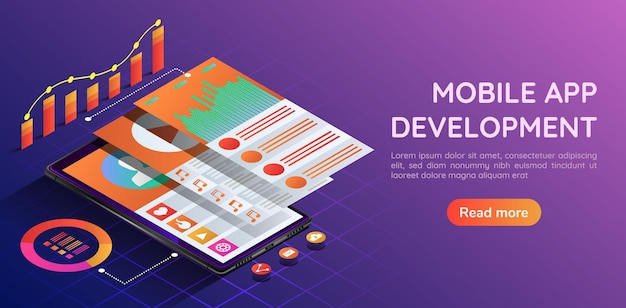 Isometrisches 3d-webbanner-smartphone mit benutzeroberfläche für mobile anwendungen und bildschirm der navigationsebene. landingpage-konzept für die entwicklung von mobilen anwendungen.