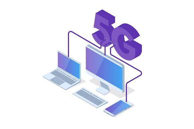 Isometrisches 5g-verbindungskonzept. telekommunikationstechnik. vektorillustration.