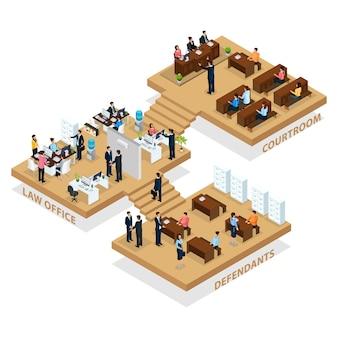 Isometrisches advocacy-konzept mit personen, die eine anwaltskanzlei zum schutz der kunden und einen anwalt zum schutz des angeklagten im gerichtssaal besuchen, isoliert