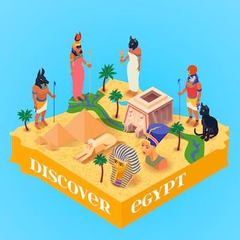 Isometrisches ägypten-plakat
