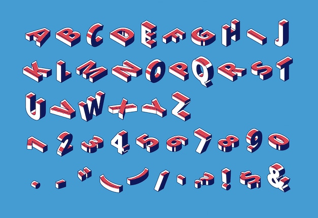 Isometrisches alphabet, abc, zahlen und interpunktion.