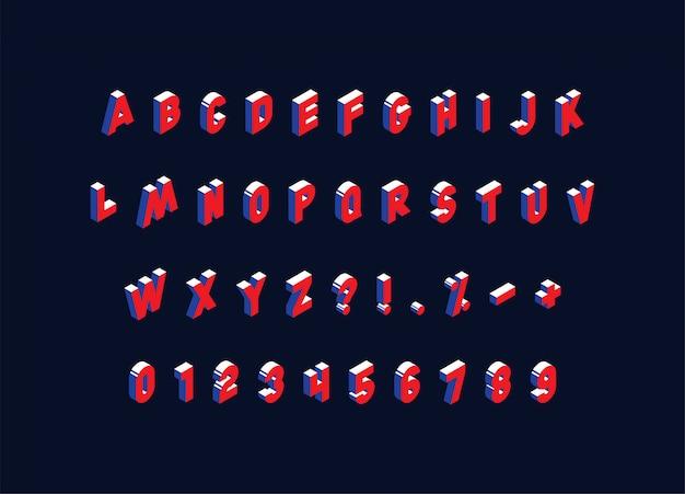Isometrisches alphabet auf dunklem hintergrund