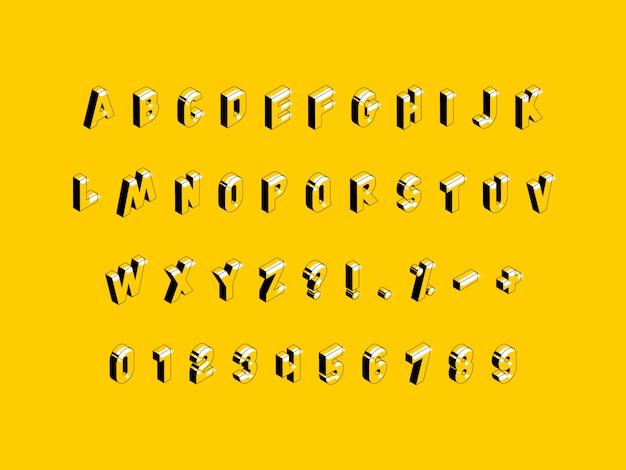 Isometrisches alphabet auf gelbem grund
