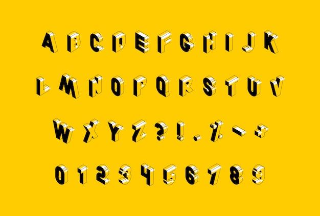 Isometrisches alphabet auf gelbem hintergrund.