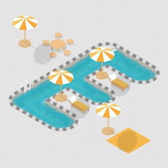Isometrisches alphabet e des swimmingpools 3d
