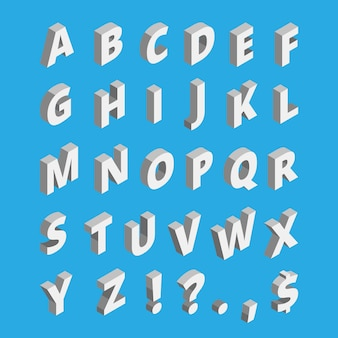 Isometrisches alphabet techno-schrift mit druckbuchstaben