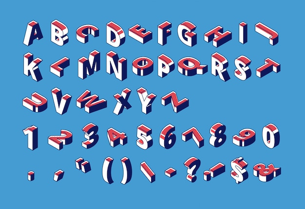 Isometrisches alphabet, zahlen und interpunktion mit dem punktierten halbtonmuster, das in rohem auf blau steht und liegt.
