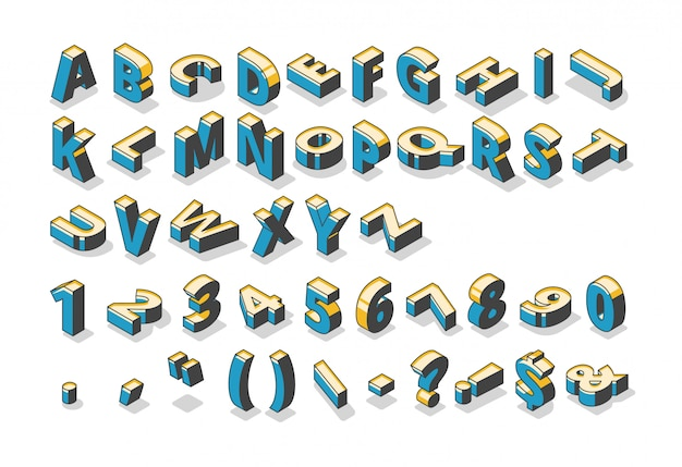 Isometrisches alphabet, zahlen und satzzeichen