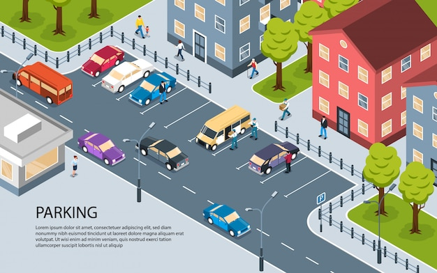 Isometrisches ansichtsplakat des modernen stadtstadtwohngebietswohnungsbezirksparkplatzes mit informativem text