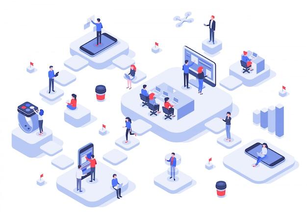 Isometrisches arbeitsteam. cloud-workplace-plattformen, workflow-prozess moderner teams und abbildung des starts eines entwicklungsunternehmens