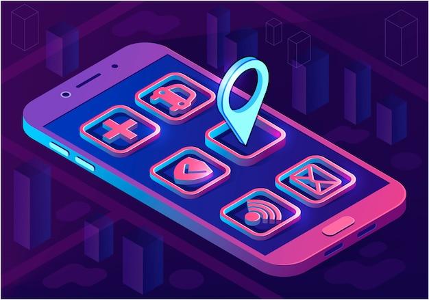 Isometrisches architekturkonzept intelligenter stadt-app