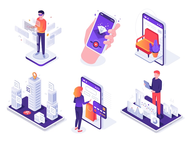 Isometrisches augmented-reality-smartphone. mobile ar-plattform, virtuelles spiel und 3d-navigationskonzept-illustrationssatz des smartphones