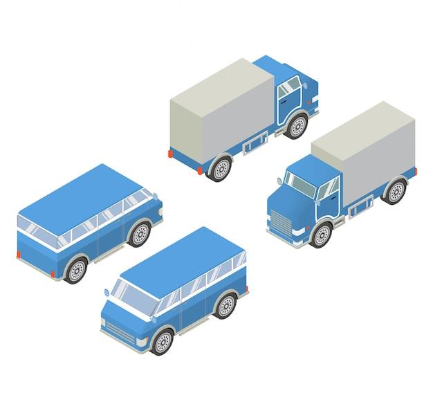 Isometrisches auto des lkw und des packwagens.