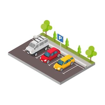 Isometrisches auto im parkplatz mit baumillustration