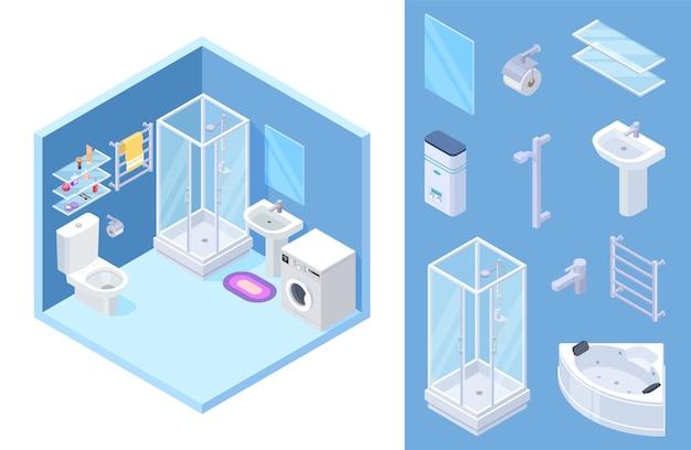 Isometrisches badezimmer-set