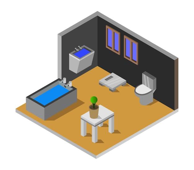 Isometrisches badezimmer