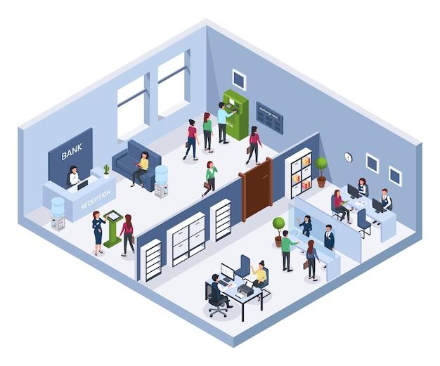 Isometrisches bankbüro empfangswartebereich geldautomat finanzberater bankinnenraum mit kunden