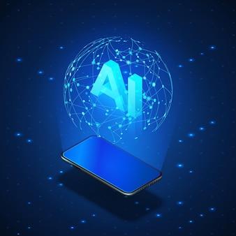 Isometrisches banner ai-konzept. mobiltelefon mit globalem hologramm-netzwerk und künstlicher intelligenz der header-ki.