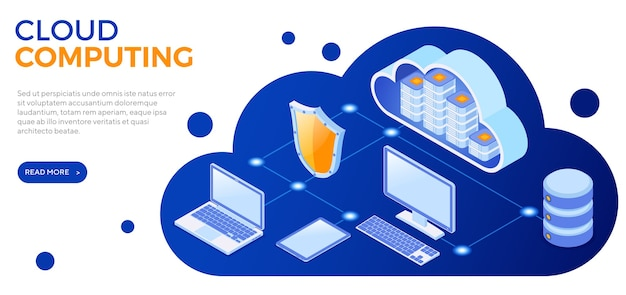Isometrisches banner der cloud-computing-technologie mit symbolen für computer, laptop, tablet und schild. sicherheits-cloud-speicherserver. big-data-verarbeitung. isoliert