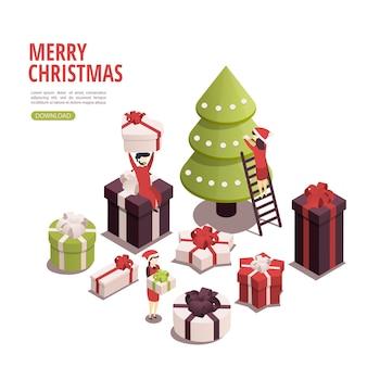 Isometrisches banner der frohen weihnachten