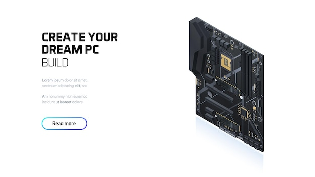 Isometrisches banner des gaming-pc-motherboards
