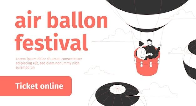Isometrisches banner des luftballonfestivals mit dem paar, das im himmel fliegt