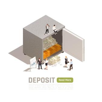 Isometrisches banner für die vermögensverwaltung mit menschlichen charakteren in der nähe eines safes Kostenlosen Vektoren