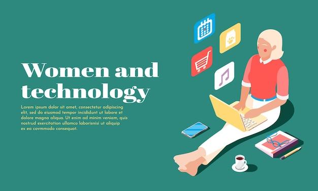 Isometrisches banner für frauen und technologie mit weiblicher person, die laptop für online-einkauf verwendet