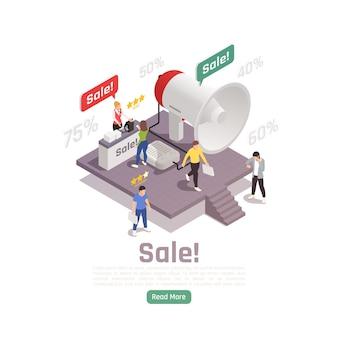 Isometrisches banner zur kundenbindungsbindung mit prozentwerten für kleine personenzeichen, gedankenblasen und anklickbarer schaltflächenillustration,