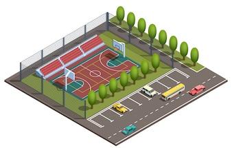 Isometrisches Basketballfeld 3d, Parken