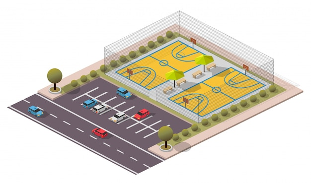 Isometrisches basketballfeld