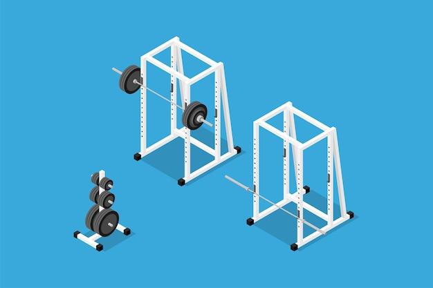 Isometrisches bild von langhantel, gewichten, gewichtsständer, stange und kniebeuge. set fitnessgeräte, kraft- und bodybuilding-training. flacher isometrischer 3d-stil.