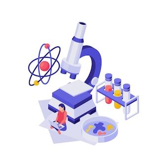 Isometrisches bildungskonzept mit 3d-wissenschaftsausrüstung und studentenillustration