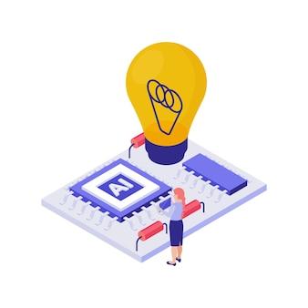 Isometrisches bildungskonzept mit student, der technische 3d-illustration tut
