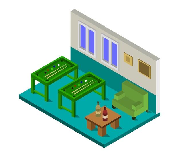Isometrisches billardzimmer