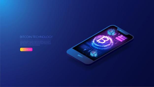 Isometrisches bitcoin auf dem smartphone, beliebteste kryptowährung