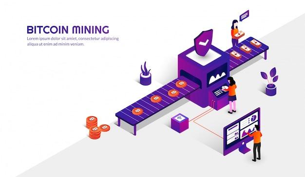 Isometrisches bitcoin bergbaukonzept, kryptowährungshintergrund