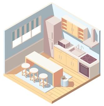 Isometrisches blaues kücheninterieur mit küchengeschirr, kühlschrank und mikrowelle. illustration