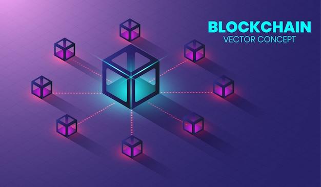 Isometrisches blockchain-technologiekonzept.