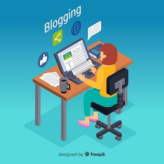 Isometrisches blogging-konzept