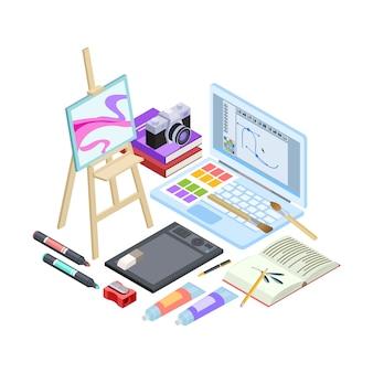 Isometrisches briefpapier und zeichenwerkzeuge lokalisiert auf weißem hintergrund. vektorgrafikenwerkzeuge, pinsel, farben, skizzenbuchillustration