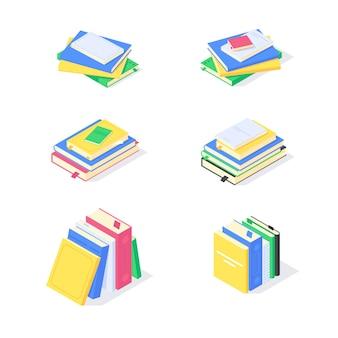 Isometrisches buch lehrbuch studium ausbildung wissen lernen bibliothek flache symbol illustration. satz bücher, die bildungssymbole lernen, die designkonzept lokalisiert auf weißem hintergrund studieren