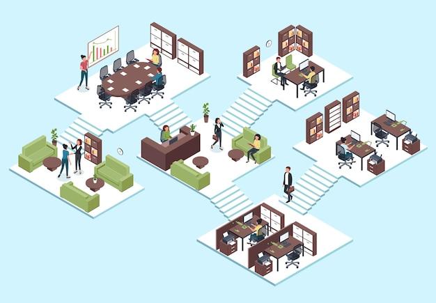 Isometrisches büro. geschäftsleute arbeiten zusammen, mitarbeiter im 3d-interieur-teamwork, präsentations- und arbeitsbereichskonzept.